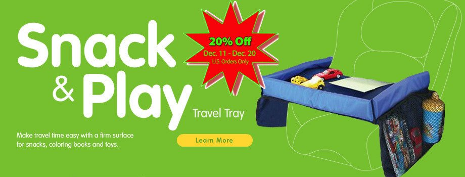 Kids Travel Tray - Snack and Play - Kids Travel Accessories from Star Kids Products - 20% Off